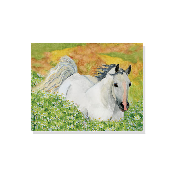 Watercolor painting of white horse in green and yellow field of wildflowers | Printable wall art for children from Enchantmints.