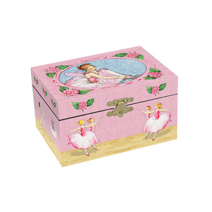Ballerinas Music Box | a little ballerina in a pink tutu is pulling on her points and the corps de ballet are dancing on the sides | Pretty musical gifts for kids from Enchantmints