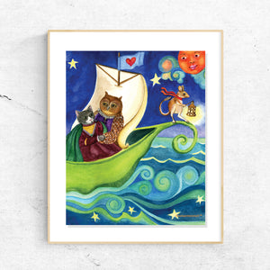 Owl and Pussycat Poetry Printable Wall Art