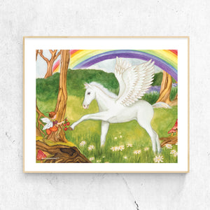Pegasus Fairy printable wall art in frame from Enchantmints