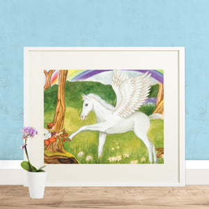 Pegasus Fairy printable wall art in frame with blue wall from Enchantmints
