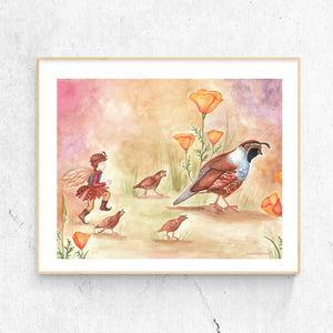 Quail Trail printable wall art in frame from Enchantmints