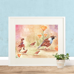 Quail Trail printable wall art in frame with blue gray wall from Enchantmints