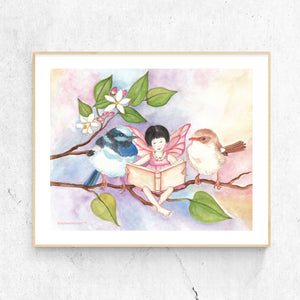 Sweet Fairy Wrens Printable Wall Art for Children from Enchantmints, simple wooden frame on plaster wall