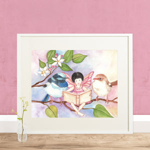 Sweet Fairy Wrens Printable Wall Art for Children from Enchantmints, print on floor with pinkish wall behind and flower in jar