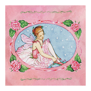 Ballet school tiny treasure box top view | A young ballerina puts on her shoes in preparation for her ballet lesson in this little pink box.  | Pretty unique gifts for kids from Enchantmints