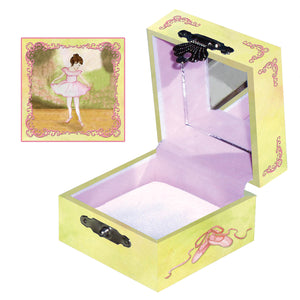The recital tiny treasure box side and top view | a little ballerina curtsies in her light pink tutu | Pretty unique gifts for kids from Enchantmints