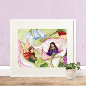 Thumbelina printable wall art in frame with pink wall from Enchantmints
