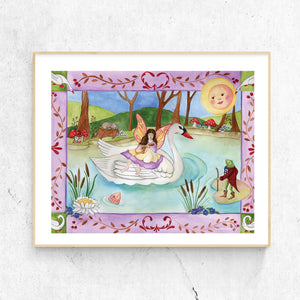 White swan printable wall art in frame from Enchantmints