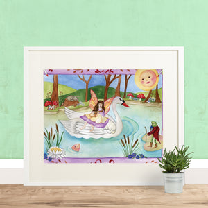 White swan printable wall art in frame with green wall from Enchantmints