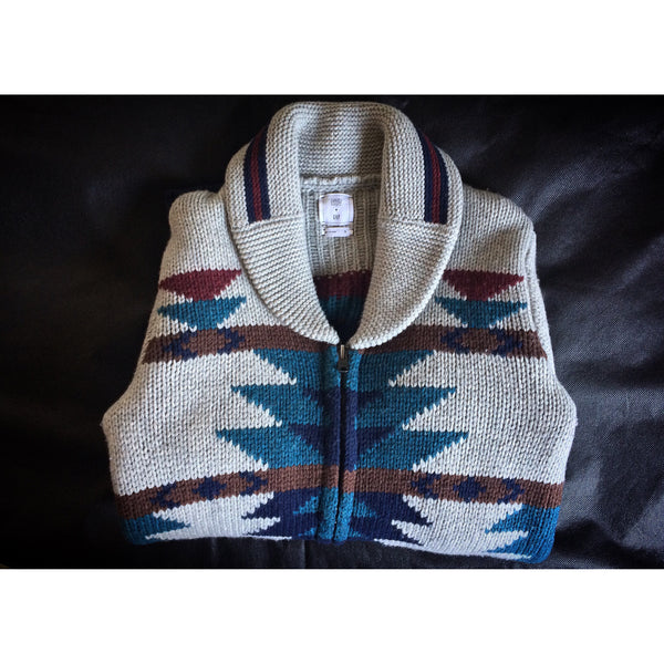 GAP x GQ x DAVID HART WOOL ZIP SOUTHWESTERN CARDIGAN SWEATER - ATLES