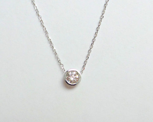 Diamond Solitaire Necklace 14k White Gold/ Diamond Bezel Necklace 0.35ct/ Dainty Diamond Pendant