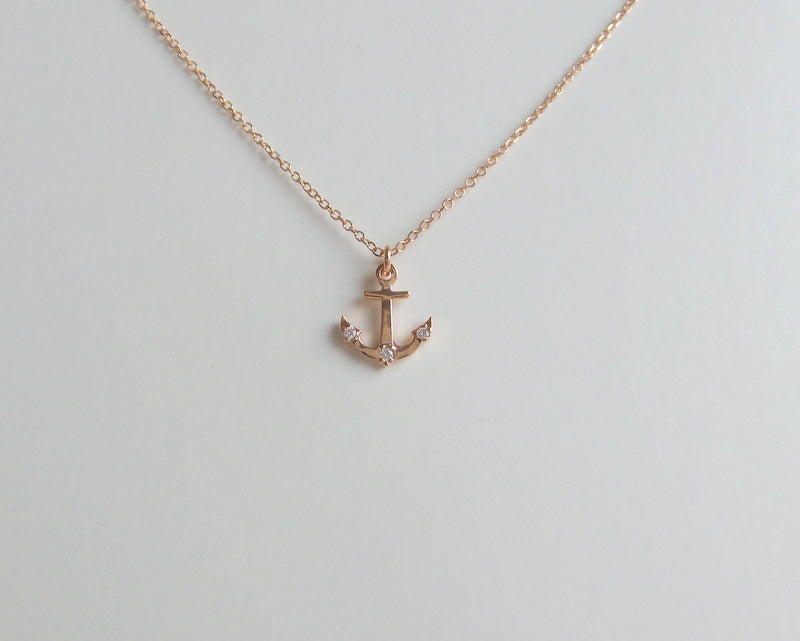 14K Rose Gold Anchor Necklace