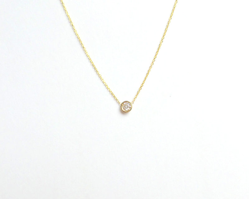 14K Gold Diamond Bezel Necklace 0.15ct