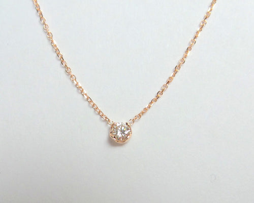 Diamond Solitaire Necklace 14k Rose Gold/ Natural Diamond / Dainty Diamond Solitaire Necklace 14k