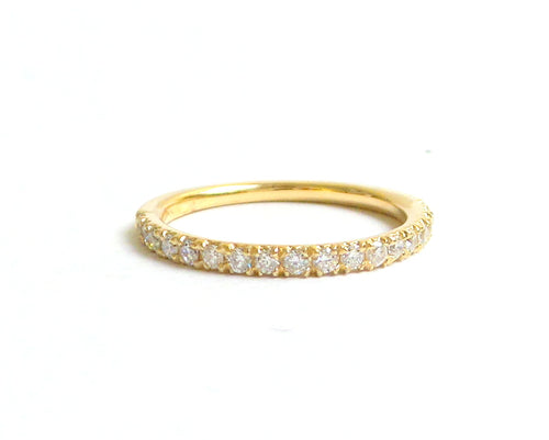 Diamond Wedding Band / Yellow Gold Diamond Ring/ Diamond Stackable Ring/ Dainty Yellow Gold