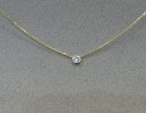 14K Gold Diamond Bezel Necklace 0.10ct