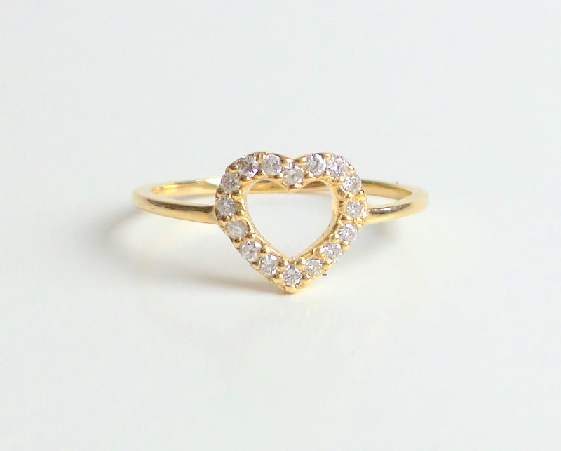 Heart Ring 14k Yellow Gold 0.20ct SI1 G Color/ Diamond Heart Ring/ Delicate Heart Ring