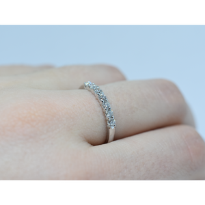 14K White Gold 7 Diamond Wedding Band