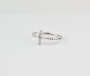 cross ring with diamonds