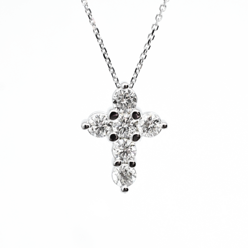 14k 1.4ct Diamond Cross Necklace