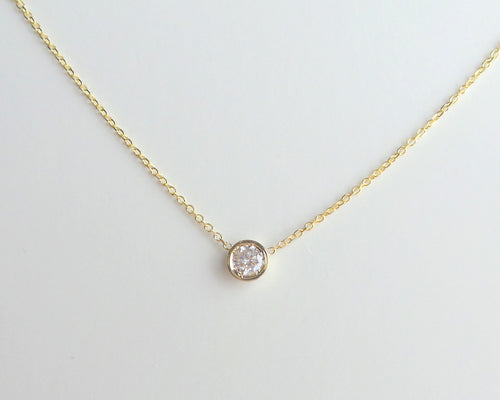 Diamond Solitaire Necklace 14k Yellow Gold / Delicate 0.20 ct  Diamond Solitaire Bezel Necklace