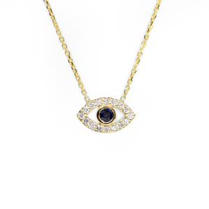 14k Diamond and Sapphire Evil Eye Necklace