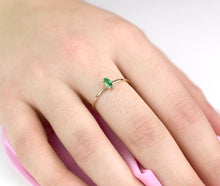 Marquis Emerald Ring/ Natural Emerald Ring/ 14k yellow gold