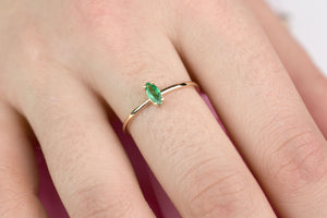 Emerald Ring / Marquis shaped natural Emerald engagement ring