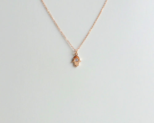 Hamsa Necklace/ Rose Gold Tiny Hamsa / Delicate Hamsa Necklace