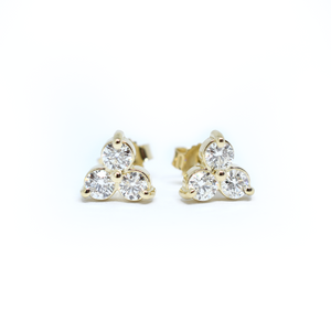 14k Triple Cluster Diamond Earrings