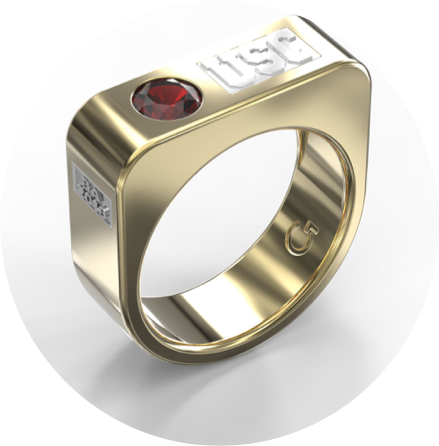 "18k Yellow Gold Customizable ""USC"" Ring with 6mm Ruby"
