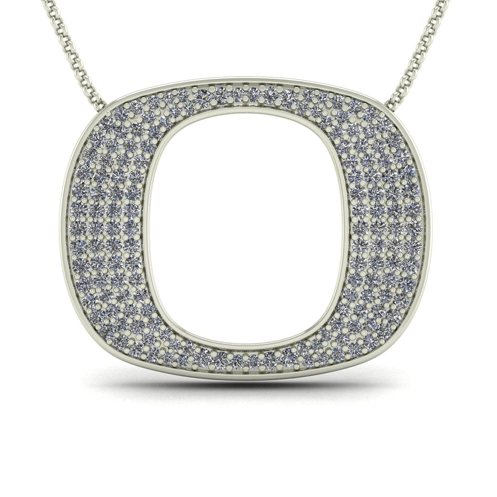 "18k White Gold & Diamond Oregon ""O"" Pendant"