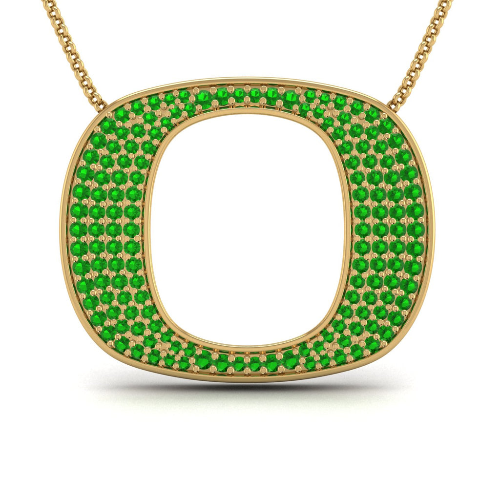 "18k Yellow Gold & Green Tourmaline Oregon ""O"" Pendant"