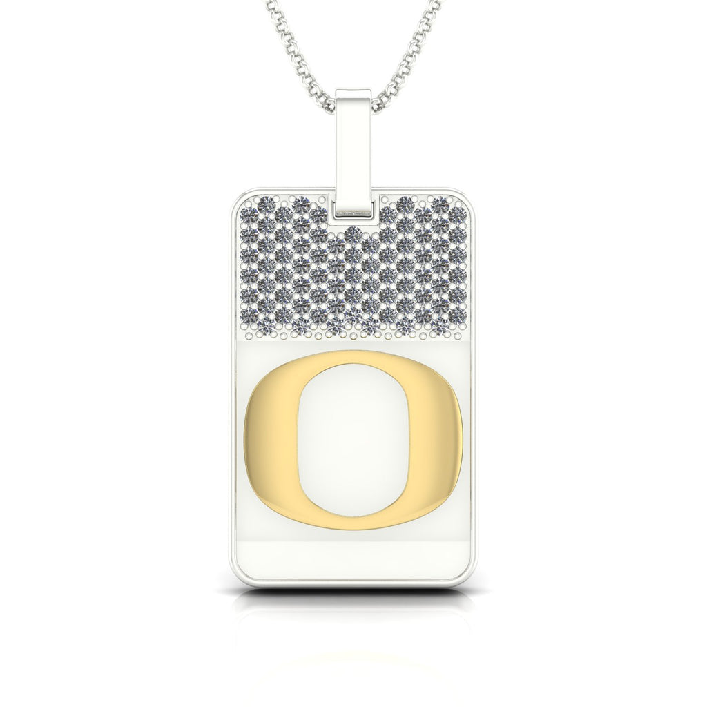 "18k Two-tone Gold & Diamond Oregon ""O"" Dog-Tag Pendant"