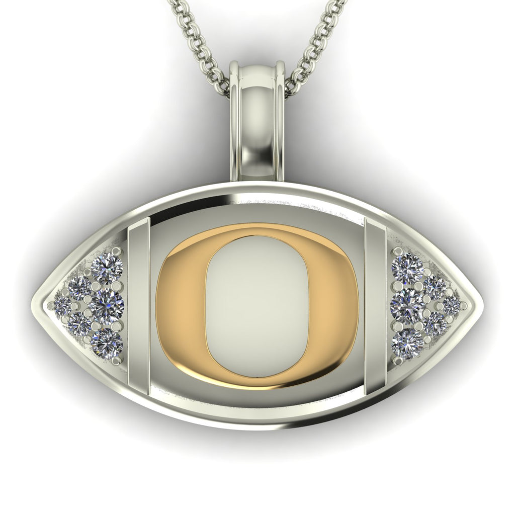 "18k Two-tone Gold & Diamond Oregon ""O"" Football Pendant"