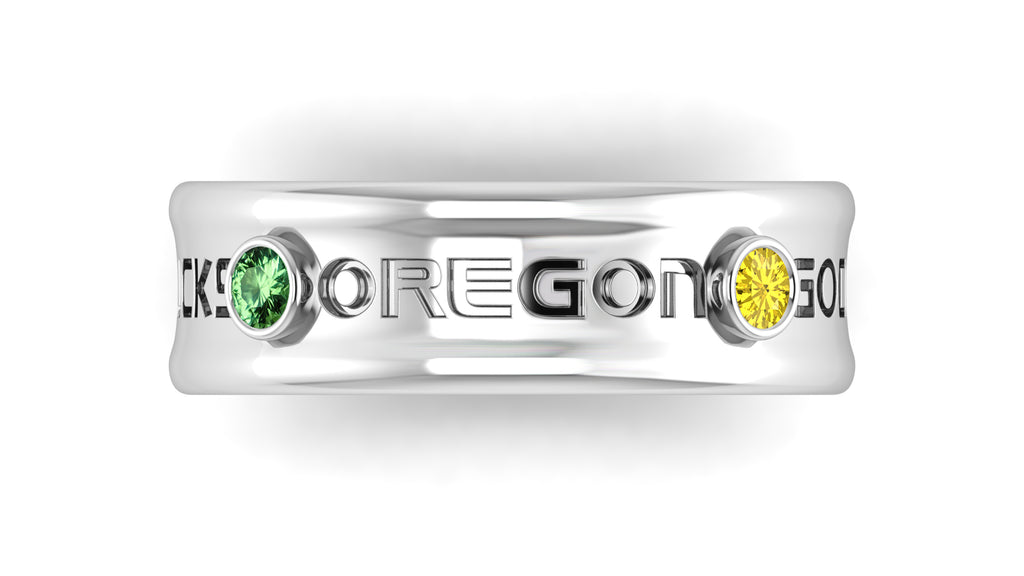 "18k White Gold Customizable ""OREGON"" Ring with Green Tourmalines & Yellow Sapphires"