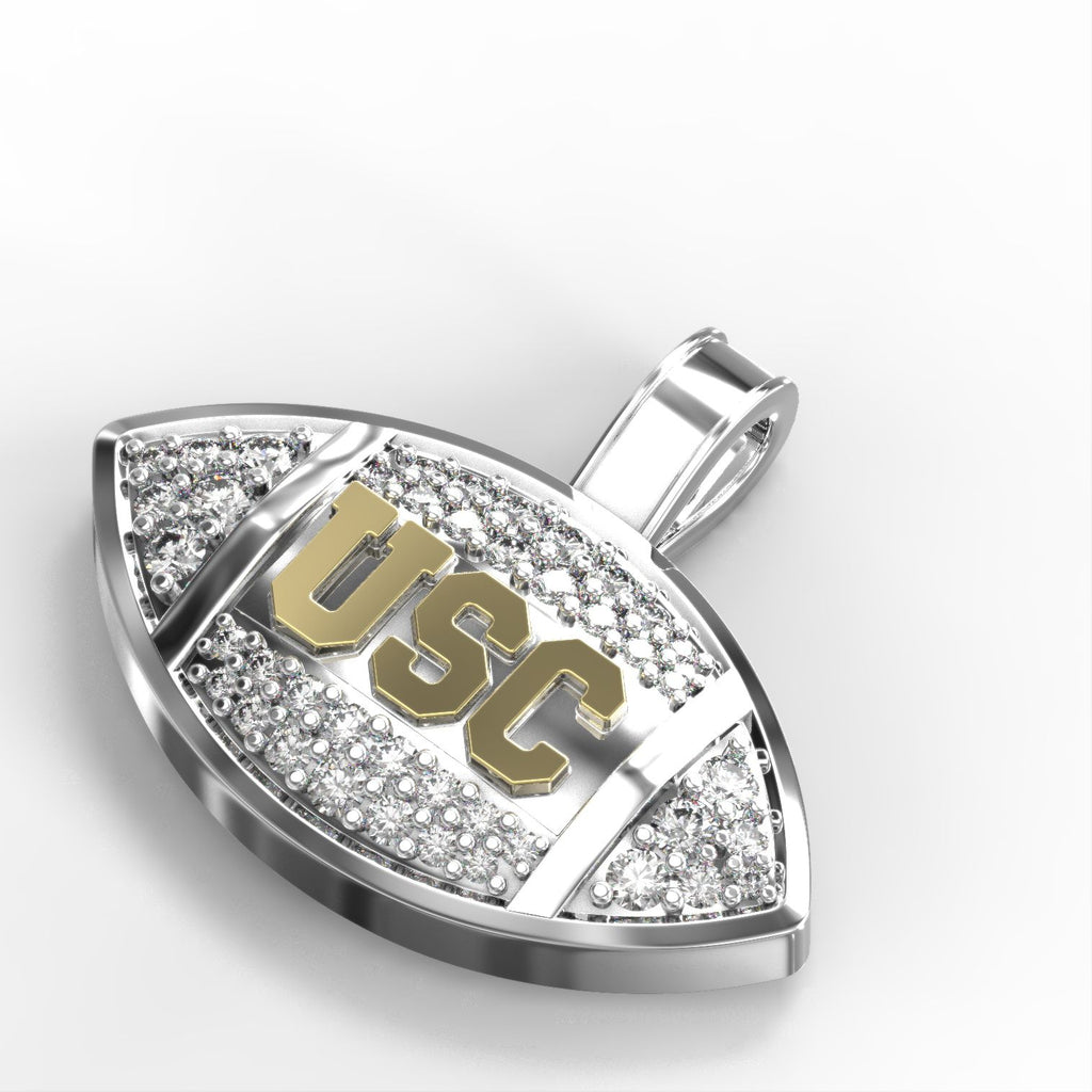 "18k Two-tone Gold & Diamond ""USC"" Football Pendant"