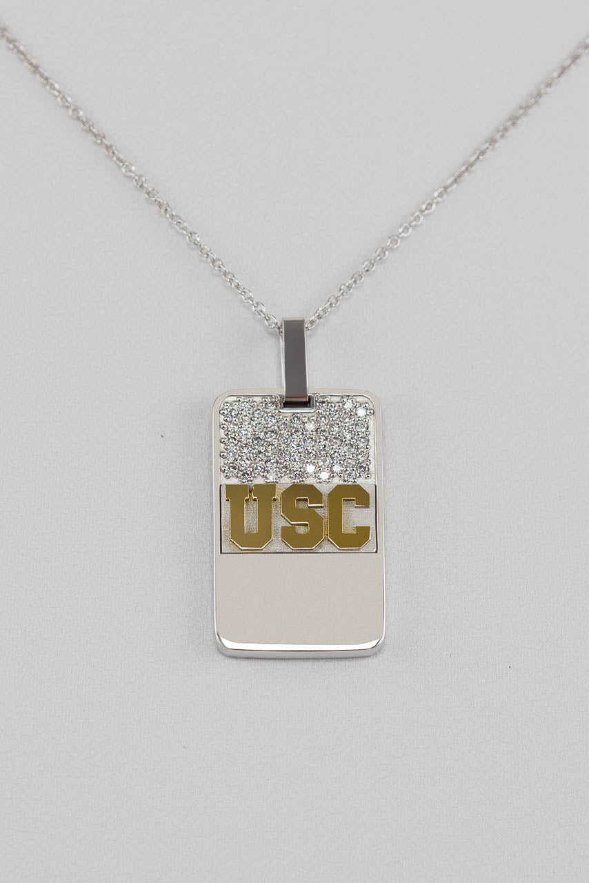 18k two tone gold diamond usc dog tag pendant champion gems 18k two tone gold diamond usc dog tag pendant aloadofball