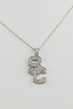 "18K White Gold & Diamond ""SC"" Pendant"