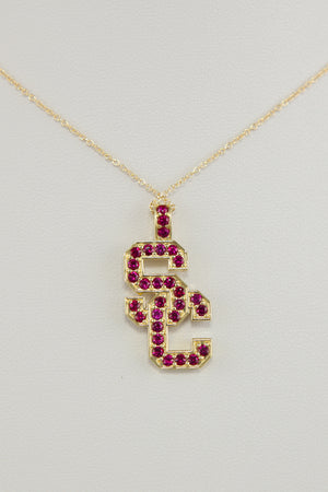 "18k Yellow Gold & Ruby ""SC"" Pendant"