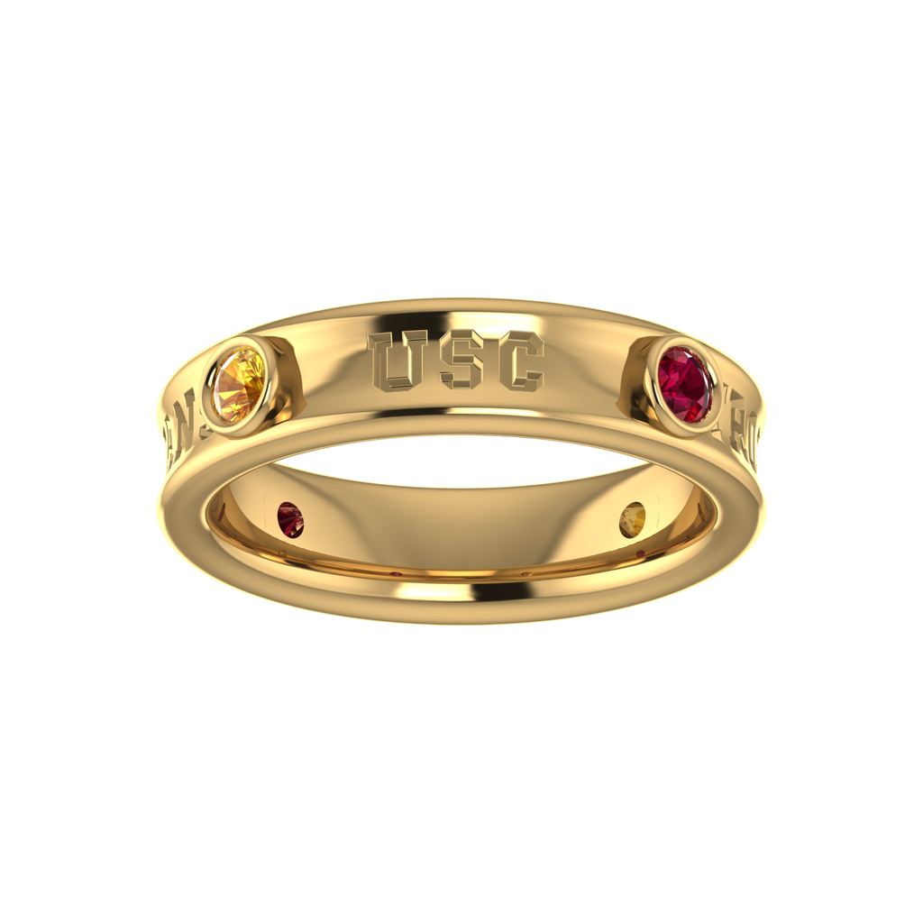 "18k Yellow Gold Customizable ""USC"" Ring with Rubies & Yellow Sapphires"
