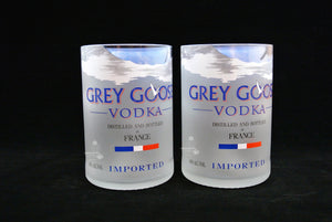 TWO Grey Goose Vodka Bottle Drinking Glasses - Glass Tumblers - Grey Goose Gifts -  Vodka Gift