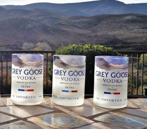 Three Grey Goose Vodka Drinking Glasses - Glass Tumblers - Grey Goose Gifts - Vodka Gifts
