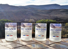 FOUR Grey Goose Vodka Drinking Glasses - Glass Tumblers - Grey Goose Vodka Gifts