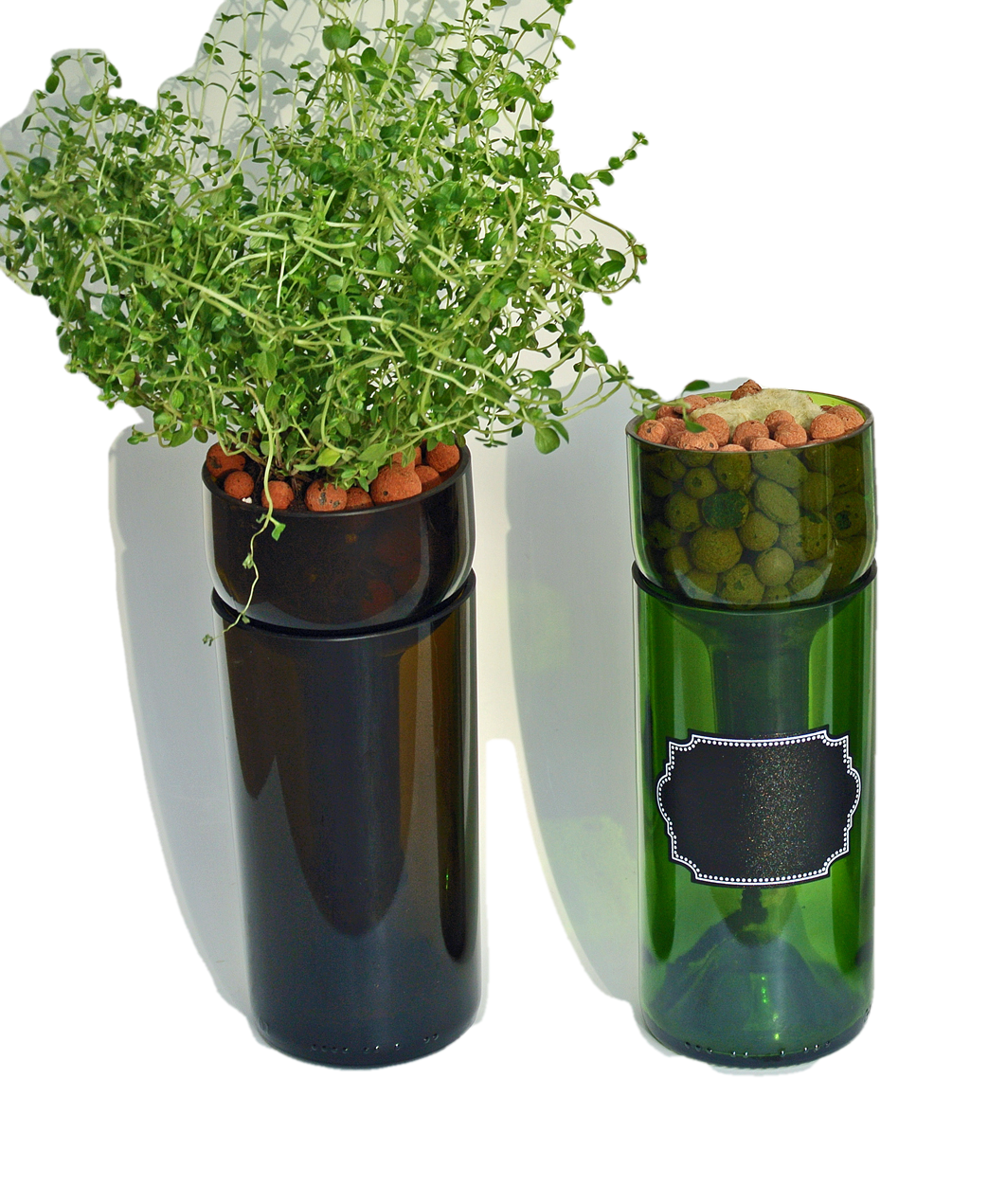... TWO Self Watering Hydroponic Gardens   Wine Bottle Indoor Herb Garden  For Your Kitchen   Herbs ...