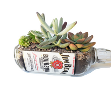 Jim Beam Bottle cut into custom Succulent Planter - Snack Dish - Vase - Centerpiece - Whiskey Gifts