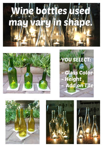 Green Wine Bottle Candle Holders - Candle Cover - Outdoor Lighting