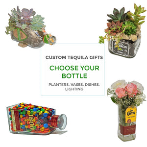 Custom Tequila Gifts -  Select a bottle - Lamp- Snack Bowl - Nut Dish - Vase