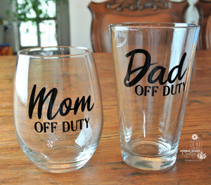 Funny New Parent Gift Set - New Dad Gift Pint - Mom and Dad Beer & Wine Lover Gifts